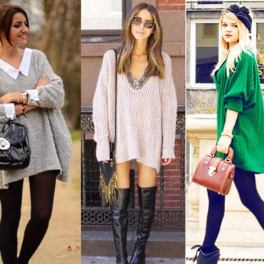 Длинный свитер вместо пальто? Как носить и оставаться в тепле?